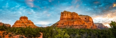 Bell Rock and Courthouse Butte at Sunrise 3:1 Panorama