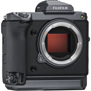 An image of the Fujifilm GFX 100 digital camera against a white background