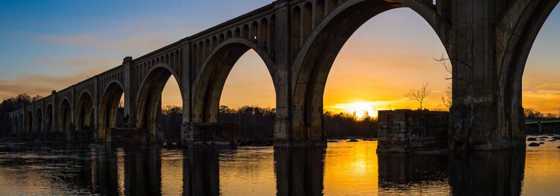 The CSX A-Line Railway Bridge crosses over the James River near Richmond, Virginia